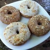 Vanilla spiced donuts topped with toasted coconut!